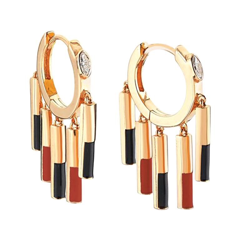14K Rose Gold Diamond Dangle Matisse Earrings