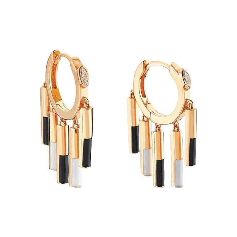 Rose-gold and diamond Black and White Matisse earrings