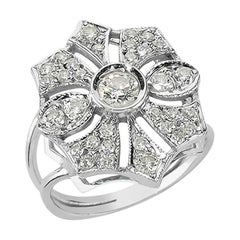 18 Karat White Gold with Diamond Parisian Solitaire Ring