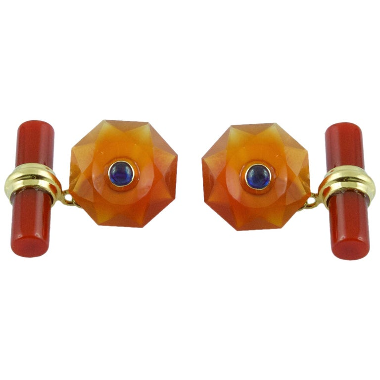 18 Karat Yellow Gold in Carnelian with Sapphires Cufflinks