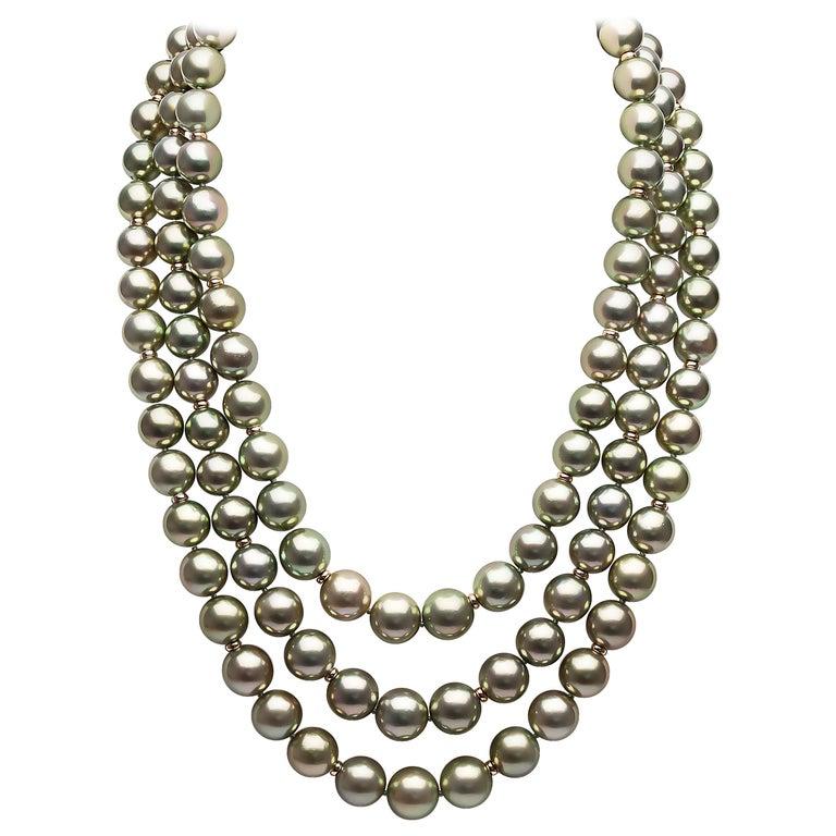 Yoko London Pistachio-Colored Tahitian Pearl Three-Row Necklace