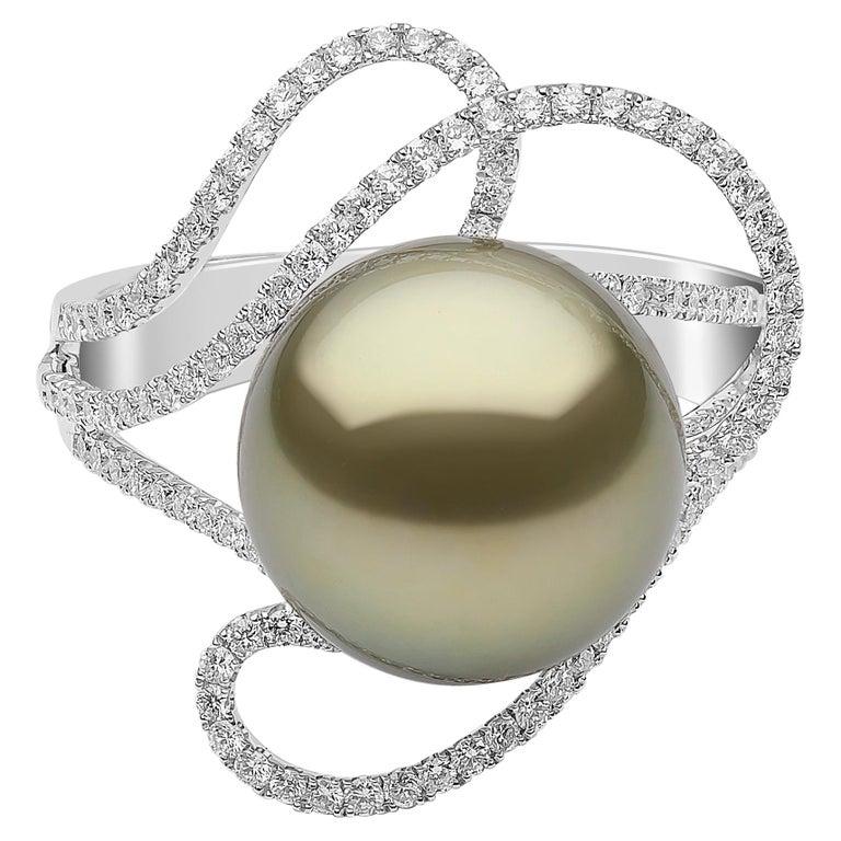 Yoko London Pistachio-Colored Tahitian Pearl and Diamond Ring in 18 Karat Gold
