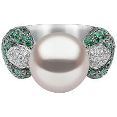 Yoko London South Sea, Diamond and Emerald Ring in 18 Karat White Gold