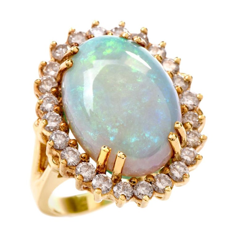 1990s Opal Diamond Halo 18 Karat Yellow Gold Cocktail Ring