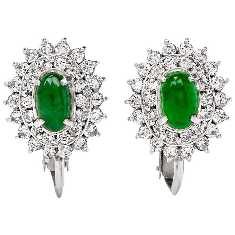 Cabochon Jade Diamond Double Halo Platinum Clip-On Earrings