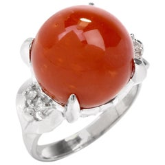 21st Century Red Coral Diamond Claw Platinum Ring