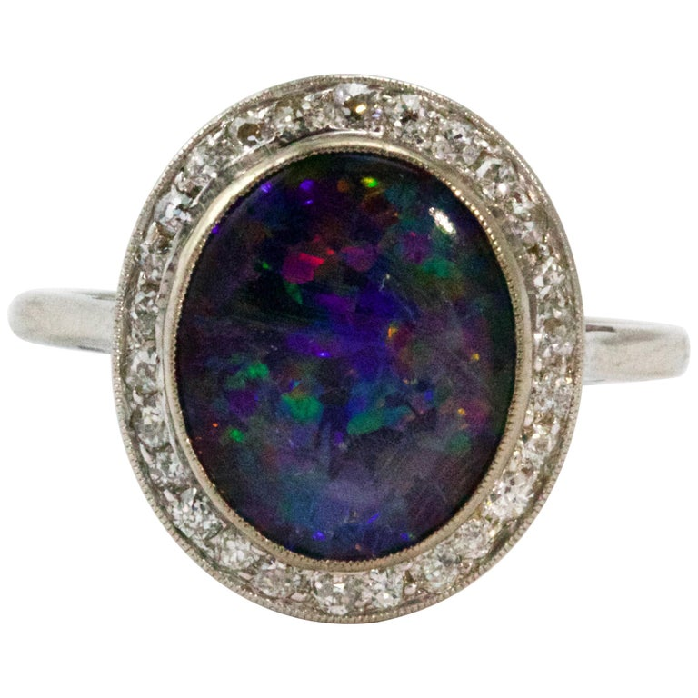 Art Deco Platinum Black Opal Diamond Halo Cluster Ring