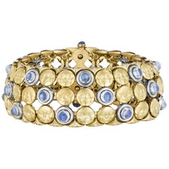 Anthony Lent Moonstone Diamond Sapphire Platinum Gold Moonface Mesh Bracelet