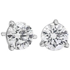 1.10 Carat Round Diamond Martini Set Three-Prong Stud Earrings