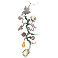 Clarissa Bronfman Emerald, Jade, Diamond 'Secret Story' Symbol Tree Necklace
