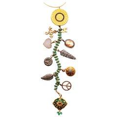 Clarissa Bronfman Emerald,Diamond,Enamel,Ruby 'Nefertiti' Symbol Tree Necklace