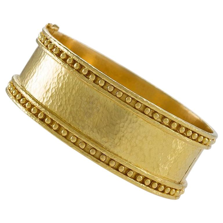 Elizabeth Locke Hammered Gold Cuff Bracelet For