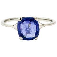 Edwardian Cornflower Blue Sapphire Solitaire Ring