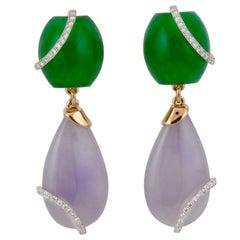 Teardrop and Diamond Crown Lavender Earrings by John Landrum Bryant