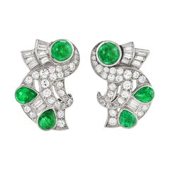 Retro Diamond Emerald and Platinum Earrings