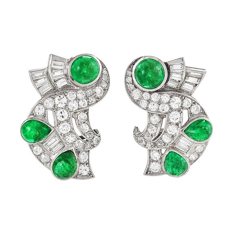 Retro Diamond Emerald and Platinum Earrings For Sale