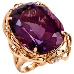 1980s Amethyst Diamond 18 Karat Gold Cocktail Ring