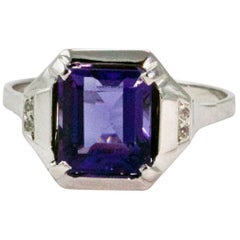 Art Deco 2.75 Carat Natural Tanzanite and Diamond Ring