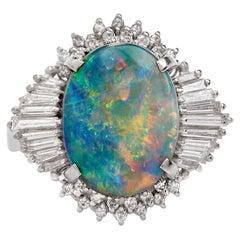 White Opal Diamond Platinum Cocktail Ring