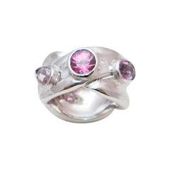 Trilogy Pink Sapphires Brushed 18 Karat White Gold Ring