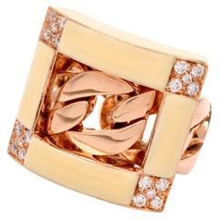 Diamond Enamel 18 Karat Yellow Gold Chain Link Ring