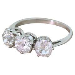 Art Deco 1.20 Carat Old Cut Diamond 18 Karat White Gold Trilogy Ring