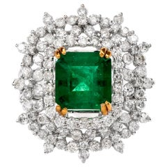 21st Century Emerald Diamond 18 Karat Gold Cocktail Ring