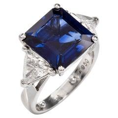 Three-Stone Sapphire Trilliant Diamond Platinum Ring