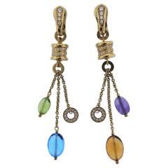 Bulgari B.Zero1 Gold Diamond Gemstone Drop Earrings