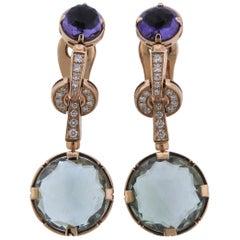 Bulgari Parentesi Gold Diamond Quartz Amethyst Earrings