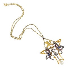 Art Nouveau Diamond Garnet Ruby Sapphire Gold and Silver Bee Pendant Necklace
