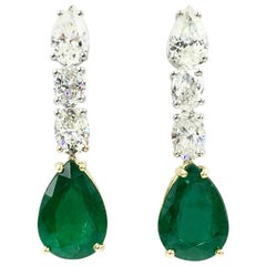Emerald and Diamond Drop 18 Karat Gold Earrings