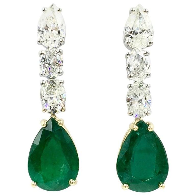 Emerald and Diamond Drop 18 Karat Gold Earrings