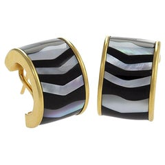 Tiffany & Co. Mother of Pearl Black Jade and Gold Hoop Earrings