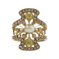 Art Nouveau Diamond Pearl Plique-a-jour Enamel Ring