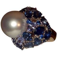 18 Karat White Gold South Sea South Sea Pearl and Sapphire Ring