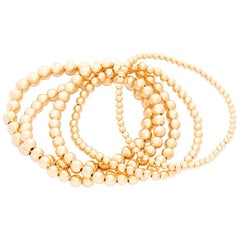 Gold Bead Ball Stretch Bracelets