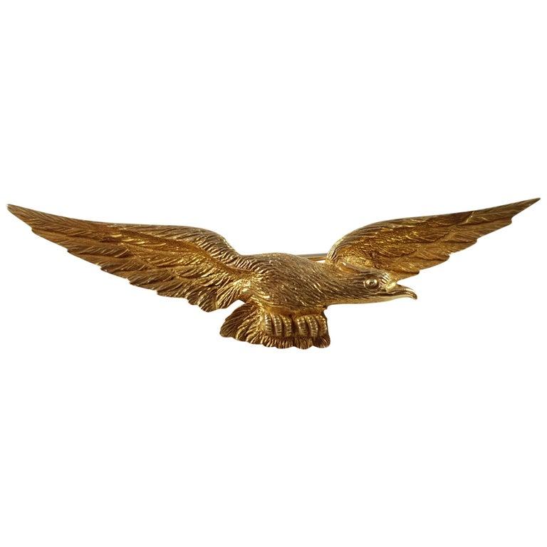 Edwardian 15 Karat Yellow Gold Eagle Brooch Pin