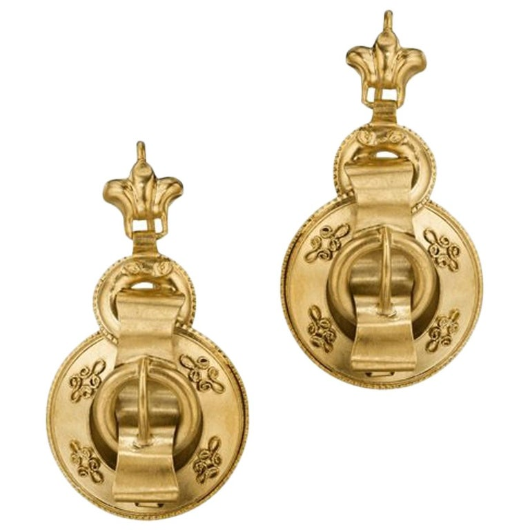 English Victorian Gold Buckle Earrings For Sale