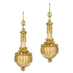 English Victorian Gold Drop Earrings