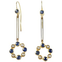 Cased 15 Karat Gold Sapphire and Seed Pearl Pendant Drop Earrings