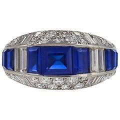 Diamond and Sapphire Ring in Platinum