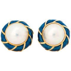 Tiffany & Co. Pearl and Enamel 18 Karat Yellow Gold Earrings