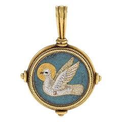 Castellani Gold and Micro Mosaic Pendant
