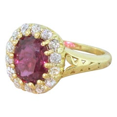 Art Deco 2.16 Carat Ruby and Old Cut Diamond 18 Karat Gold Cluster Ring