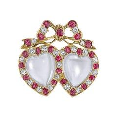 English Victorian Diamond, Moonstone and Ruby Brooch