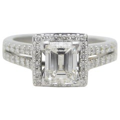 UGS Certified 2.18 Carat Emerald Cut Diamond Engagement Ring