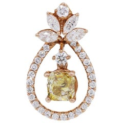 Cushion Cut Diamond Tear Drop Shape Pendant