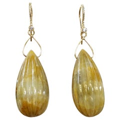 Carved Yellow Sapphire Pears and White Diamond Dangle Earrings in 18 Karat Gold
