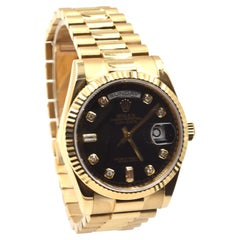 Rolex President Day-Date Factory Diamond Dial New-Style 18k Gold Watch 118238